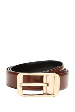 Van Heusen Brown Solid Leather Narrow Belt - Mp000000003310098