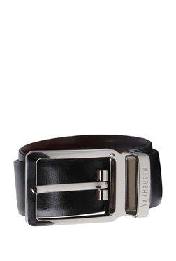 Van Heusen Black Solid Leather Narrow Belt