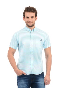Aeropostale Sky Blue Striped Button Down Collar Shirt