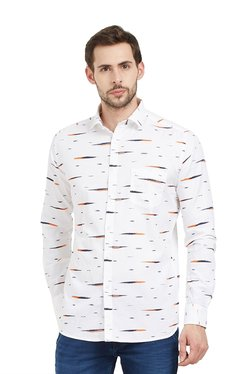 Easies By Killer White Slim Fit Printed Cotton Shirt