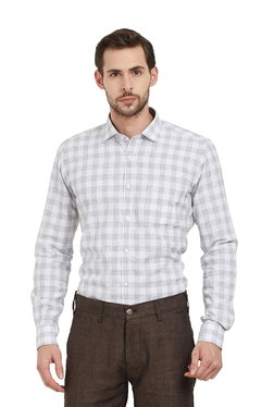 Easies By Killer Light Grey Slim Fit Cotton Checks Shirt