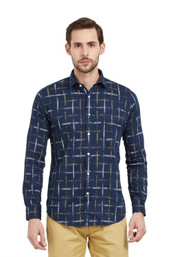 Easies By Killer Navy Slim Fit Checks Shirt
