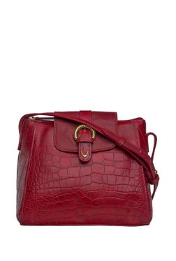 Hidesign Sb Lyra Red Textured Leather Flap Sling Bag