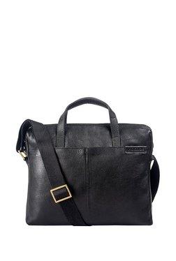 Hidesign Ee Uranus 01 Black Solid Leather Laptop Messenger Bag