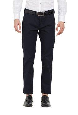 Easies By Killer Navy Cotton Flat Front Trousers