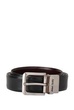 Allen Solly Black & Dark Brown Solid Leather Reversible Belt
