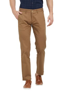 Easies By Killer Brown Slim Fit Flat Front Trousers