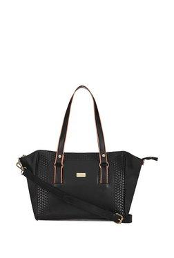 Satya Paul Black Interlaced Shoulder Bag