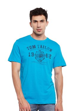 Tom Tailor Blue Printed Cotton T-shirt