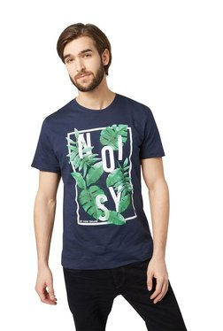 Tom Tailor Navy Cotton Round Neck Printed T-shirt