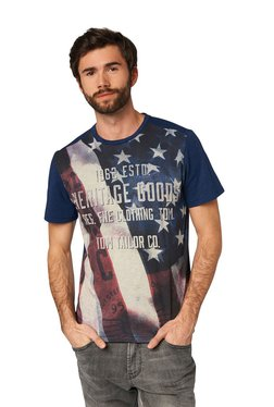 Tom Tailor Ink Blue Printed Round Neck Cotton T-shirt