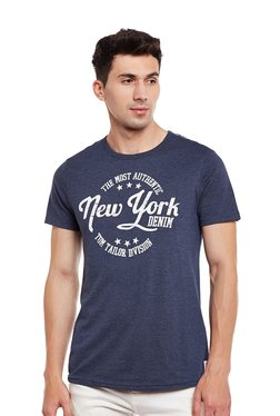 Tom Tailor Dark Blue Round Neck Regular Fit Printed T-shirt