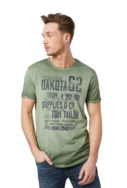Tom Tailor Olive Printed Cotton Round Neck T-shirt