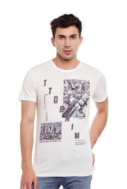 Tom Tailor White Printed Cotton Round Neck T-shirt