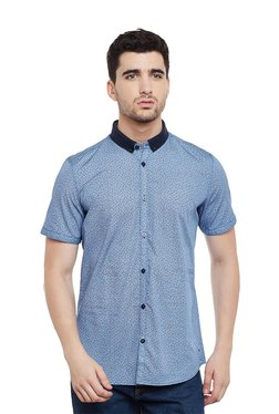 Tom Tailor Blue Printed Short Sleeves Shirt