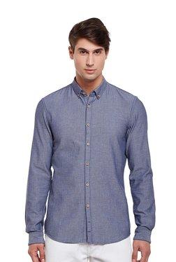Tom Tailor Blue Cotton Button Down Collar Shirt