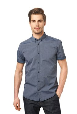Tom Tailor Navy Striped Short Sleeves Shirt