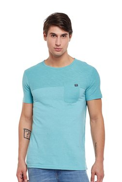 Tom Tailor Turquoise Solid Round Neck T-shirt