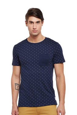 Tom Tailor Navy Printed Cotton Round Neck T-shirt