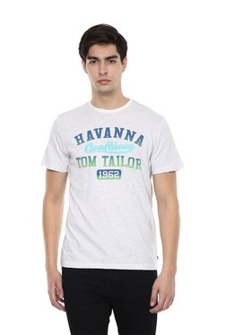 Tom Tailor Off White & Blue Short Sleeves T-shirt