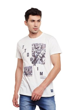 Tom Tailor Off White Printed Cotton Round Neck T-shirt