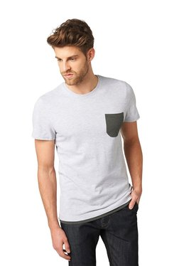 Tom Tailor Light Grey Cotton Regular Fit T-shirt
