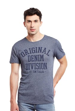 Tom Tailor Navy Printed Round Neck Short Sleeves T-shirt