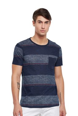 Tom Tailor Blue Striped Round Neck Short Sleeves T-shirt