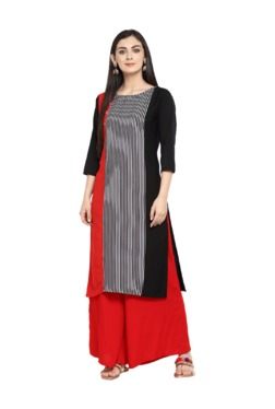 Ziyaa Black & Red Striped Crepe Kurta