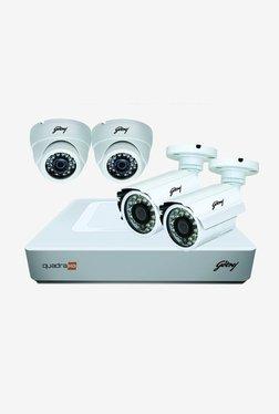 Godrej 720P See Thru 4 Channel 2 Dome 2 Bullet Cameras Full CCTV Camera Kit (White)