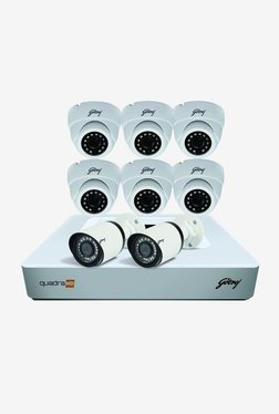 Godrej 1080P See Thru 8 Channel 6 Dome 2 Bullet Cameras HD Full CCTV Camera Kit (White)