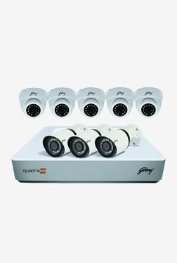 Godrej 1080P See Thru 8 Channel 5 Dome 3 Bullet Cameras HD Full CCTV Camera Kit (White)