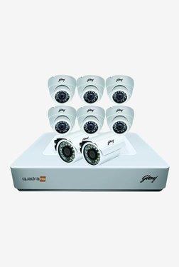 Godrej 720P See Thru 8 Channel 6 Dome 2 Bullet Cameras Full CCTV Camera Kit (White)