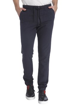 Jack & Jones Navy Slim Fit Flat Front Trousers