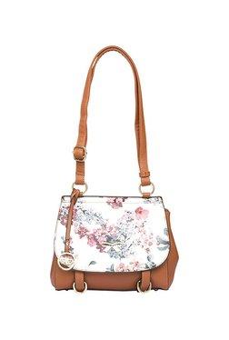 Globus Tan & White Floral Shoulder Bag