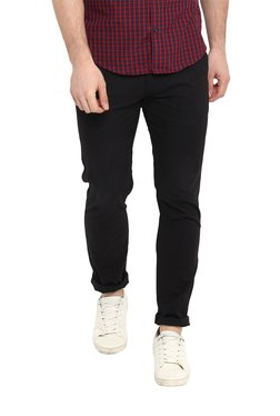 Red Tape Black Skinny Fit Mid Rise Chinos