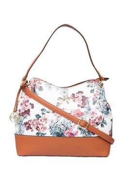 Globus White & Tan Floral Hobo Shoulder Bag