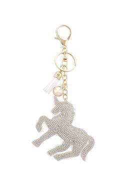 20f862a86 Globus Unicorn Shaped White   Golden Keychain