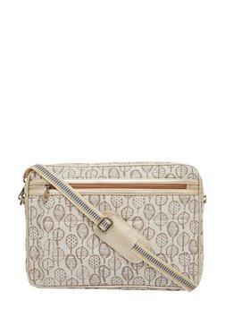 Tarusa Cream & Brown Printed Cotton Laptop Messenger Bag