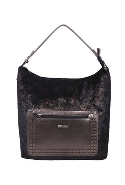 Esbeda Black & Metallic Brown Riveted Hobo Bag
