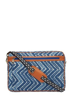 Tarusa Blue Printed Cotton Laptop Messenger Bag