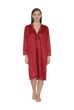 Clovia Maroon Satin Robe