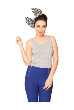 Miss Chase Grey Textured Cotton Top - Mp000000003336423