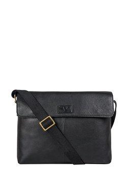Hidesign Ee Pluto 01 Black Solid Leather Laptop Messenger Bag