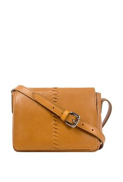 Hidesign Sebbie 02 Tan Interlaced Flap Leather Sling Bag