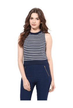 Miss Chase Navy Striped Cotton Crop Top