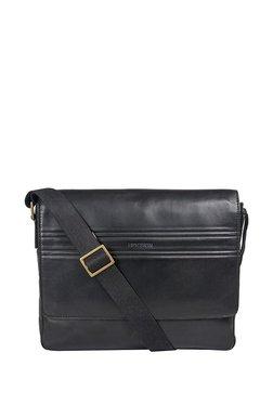 Hidesign Ee Adam 01 Black Solid Leather Laptop Messenger Bag