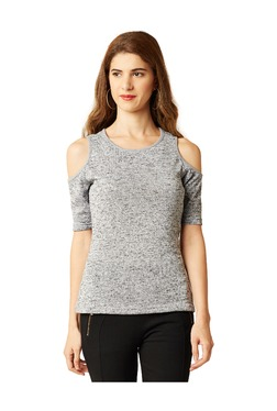 Miss Chase Grey Textured Cotton Top - Mp000000003337620