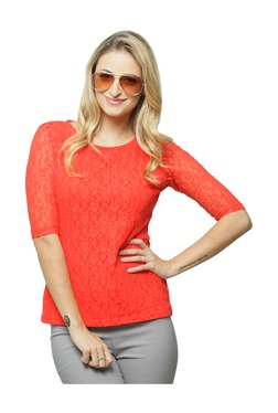 Miss Chase Coral Lace Cotton Top