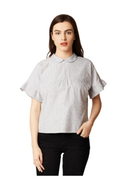 Miss Chase Grey Striped Cotton Top
